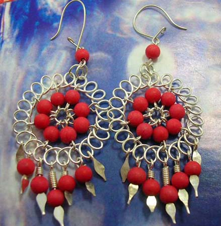 925.stamped sterling silver flower earring with red stone beaded design
