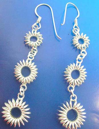 round wiring silver earring