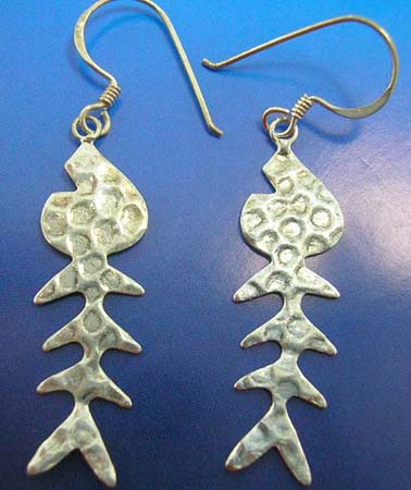 fish bone silver earring