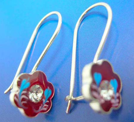 flower silver earring