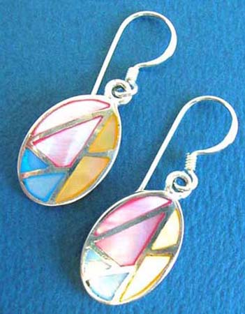 oval shape sterling silver earring with multiple color mother of pearl seashells