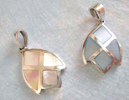 geometrical sterling silver pattern with assorted mother of pearl seashell embedded, in assortment of designs/colors