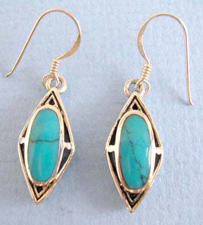 genius 925.stamped sterling silver earring turquoise inlaid and french wire