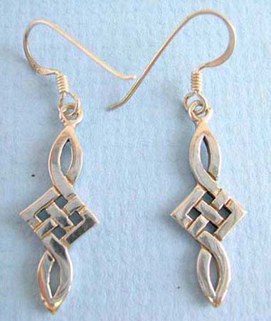 bow tie-like celtic 925.thai sterling silver earring on french wire
