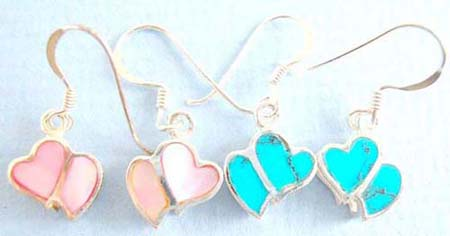 love 925. thai sterling silver earring on french wire with turquoise chips