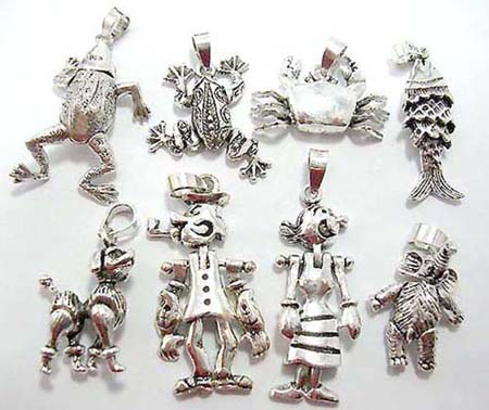 925 sterling silver pendants charms, dog, bear, girl, fish, frog, crab