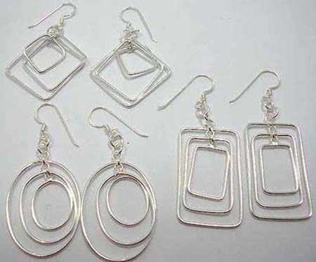 Double pattern fish hook sterling silver earrings