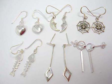 Trendy selection sterling silver stamped earrings