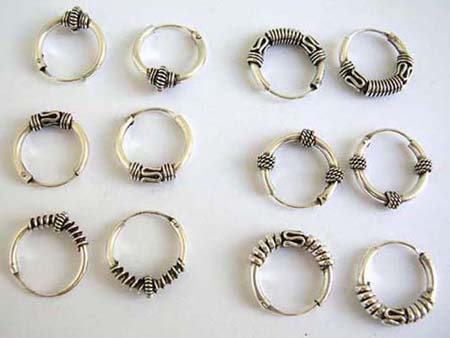 bali hoop 925 stamped sterling silver hoop earring in assorted design, in assortment of designs/colors