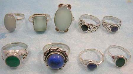 Fashion gemstone inlay 925. stamped rings, in assorted design, in assortment of designs/colors