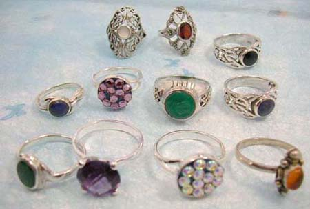 stamped sterling silver cubic zirconia ring group, in assorted design, in assortment of designs/colors