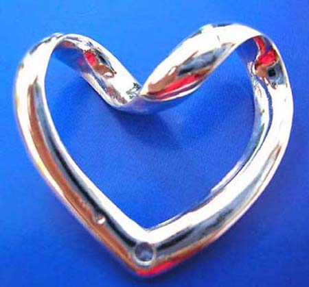 heart love sterling silver pendant with curve top