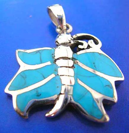 sterling silver 925 thailand made pendant with turquoise semi precious stone, butterfly outline