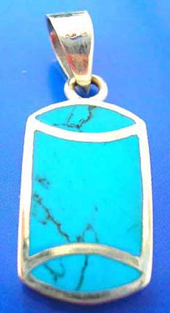 blue genuine turquoise semi precious stone inlaid sterling silver 925 thailand made pendant with curve top and bottom