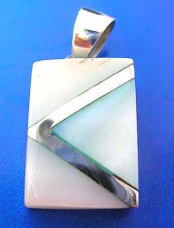 sterling silver 925 thailand made pendant with triangle line sectioned, blue seashell inlaid