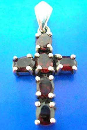 cross jewelry sterling silver cross pendant with 6 rounded red garnet stone embedded