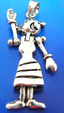 happy girl sterling silver 925 thailand made pendant with movable head, arms and legs