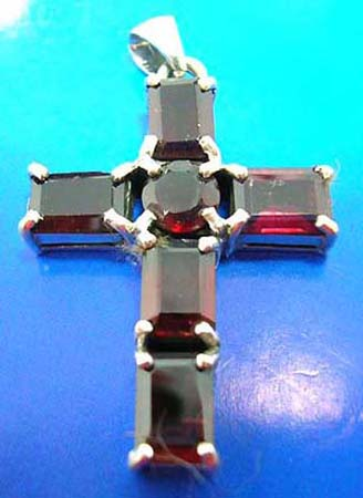garnet stone cross sterling silver pendants with