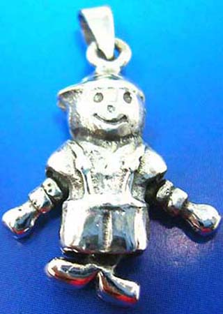 arms and legs movable little boy outline sterling silver pendant