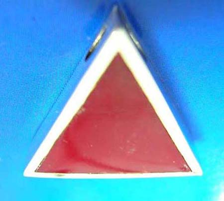triangular red stone inlay sterling silver pendant