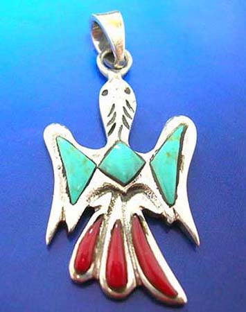 turquoise semi precious stone and red stone embedded bird shape sterling silver pendants with