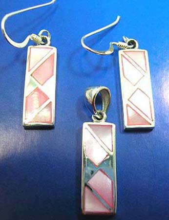 pink mother of pearl seashell jewelry set