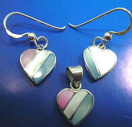 heart mother of pearl seashell jewelry set