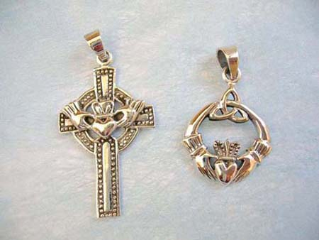 silver cross and Claddagh Cross pendants