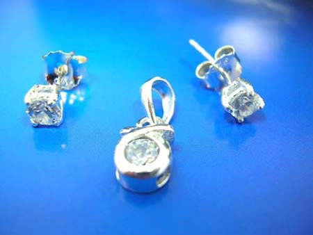 costume sterling silver cz jewelry set