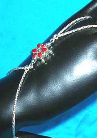 genius sterling silver slave bali bracelet with red fau* stone design