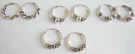 sterling earrings, 925. sterling silver miniature hoop earrings with crafted designs