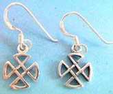 Thai sterling silver earring on French wire  multi triangle forming a cross