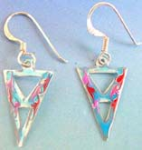 925.sterling silver fish hook triple triangle enamel blue color earring