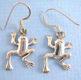 Stamped 925.Thai sterling silver earring on French wire with frog outline
