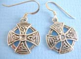 Fish hook 925.stamped sterling silver earring  circular shape with celtic cross design