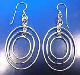 Thai sterling silver earring on French wire in triple elliptical shape