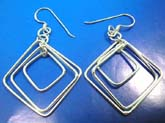 925. sterling silver earring with French wired hookin triple diamond shape