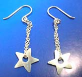 French wired hooksterling silver earring  star outline
