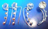 925. silver sterling ear threader / earring thread strings with mini chain connected double curve strip