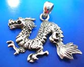 Oriental cartoon running dragon design sterling silver 925 Thailand made pendant