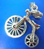 Wheel movable bicycle outline sterling silver pendant