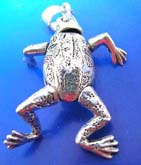 Sterling silver pendant in frog figure design with head, arms and legs movable